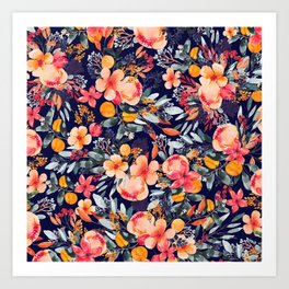 Navy Floral Art Print