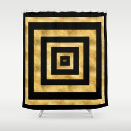 ART DECO SQUARES BLACK AND GOLD #minimal #art #design #kirovair #buyart #decor #home Shower Curtain
