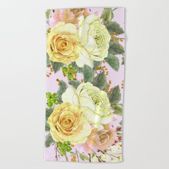 Watercolor Roses #4 Beach Towel
