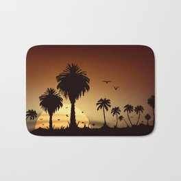 Sunsets and sunrises over the savanna with palm trees Bath Mat