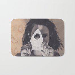 Realism Drawing of Beautiful Woman with Ouija Planchette Piece Bath Mat
