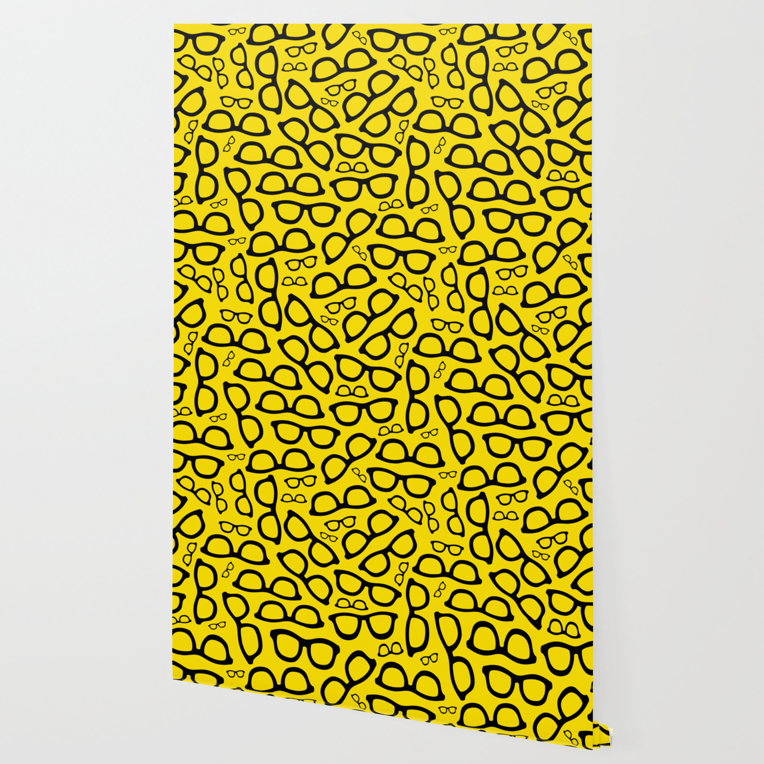 Smart Glasses Pattern Black And Yellow Wallpaper