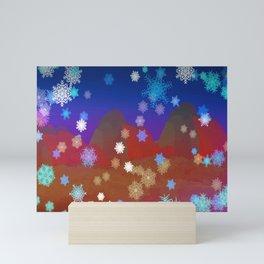 Mountains and Snowflakes Mini Art Print