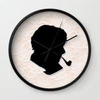sherlock holmes Wall Clocks featuring Sherlock Holmes by thescudders