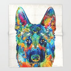 Colorful German Shepherd Dog Art By Sharon Cummings Throw Blanket