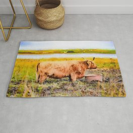 Highland cow watercolor painting #1 Rug