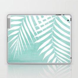 Teal Paint Stroke of Palm Leaves Laptop & iPad Skin