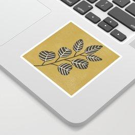 Eucalyptus Branch - Black, Mustard Sticker