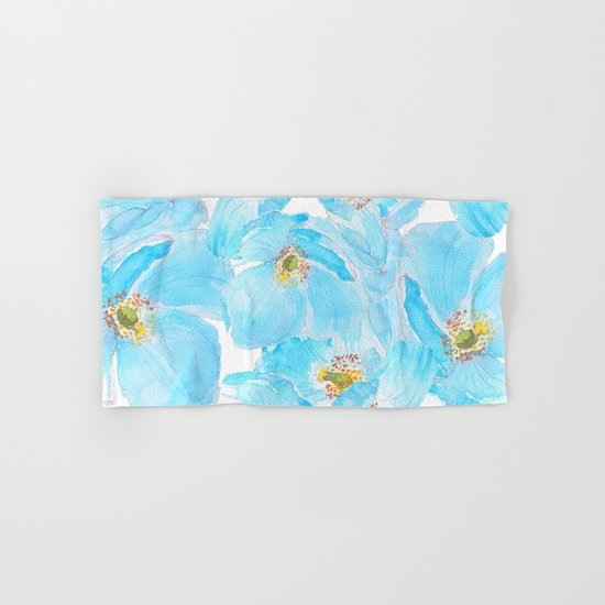 blue poppy pattern Hand & Bath Towel