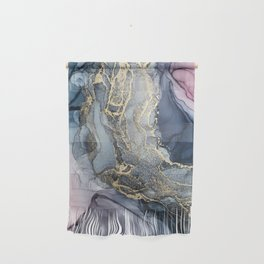 Blush, Payne's Gray and Gold Metallic Abstract Wall Hanging