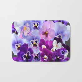 GREY VARIEGATED SPRING COLLECTION  PANSIES Bath Mat