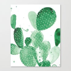 Green Paddle Cactus Canvas Print