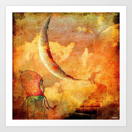 Shelsea under the moon Art Print