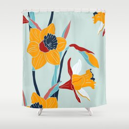 Mid Century spring floral Shower Curtain