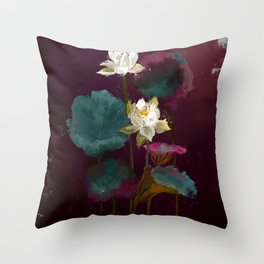 Lotus in Violets. Throw Pillow