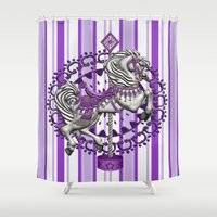 pony Shower Curtains featuring Pony Purple by The Victorian Fantasy