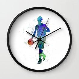 young man basketball player dribbling  Wall Clock