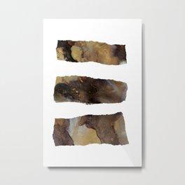 Gold & Black Abstract Stripe Ink Art A Metal Print