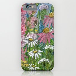 Floral Watercolor Garden Flowers Vibrant Colors Prints For Sale iPhone Case