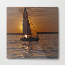 Sail into the sunset Metal Print