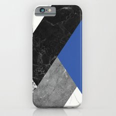 Black and white marbles and pantone lapis blue color iPhone 6 Slim Case