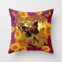Abstracted  Burgundy Sunflowers & Orange Monarch Butterflies Throw Pillow