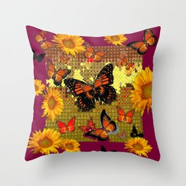 Abstracted  Burgundy Sunflowers & Orange Monarch Butterflies Throw Pillow