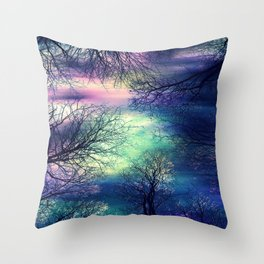 Midnight Trees : Deep Pastels Teal Lavender Throw Pillow