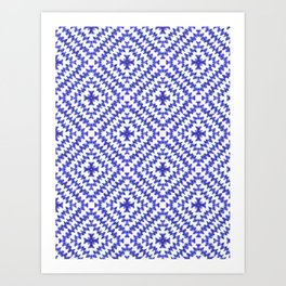 Indigo Chevron Bohemian Art Print