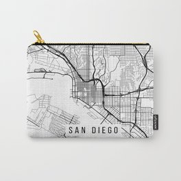 San Diego Map, California USA - Black & White Portrait Carry-All Pouch