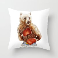 foo fighters Throw Pillows featuring Bear Fighters. by beart24
