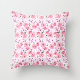 summer flowers made with watercolor Throw Pillow