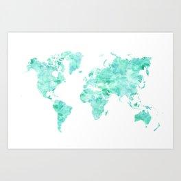 Teal aquamarine watercolor world map Art Print