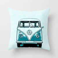 vw bus Throw Pillows featuring VW Bus Blue by Edward M. Fielding