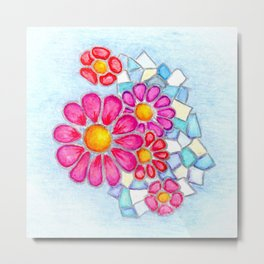 Raspberry Daisies and Icy Blue Crystals Metal Print