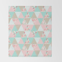 Quilt ender neutral modern quilting pattern triangles handmade gift for new baby Throw Blanket