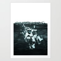 diver Art Prints featuring Diver by ghoste