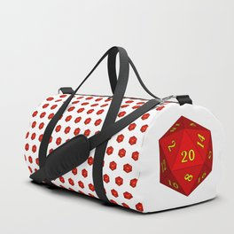Red d20 pattern, white background Duffle Bag