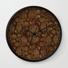 Decorative Hamsa Hand with paisley background Wall Clock