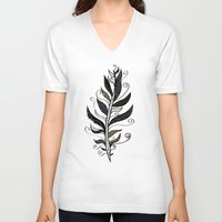 feather V-neck T-shirts featuring FEATHER by Nika