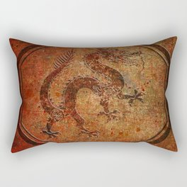Distressed Chinese Dragon In Octagon Frame Rectangular Pillow