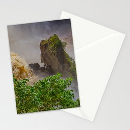 Rock showing in the waterfall Stationery Cards