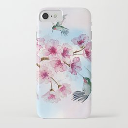 Cherry Blossom and Hummingbirds iPhone Case