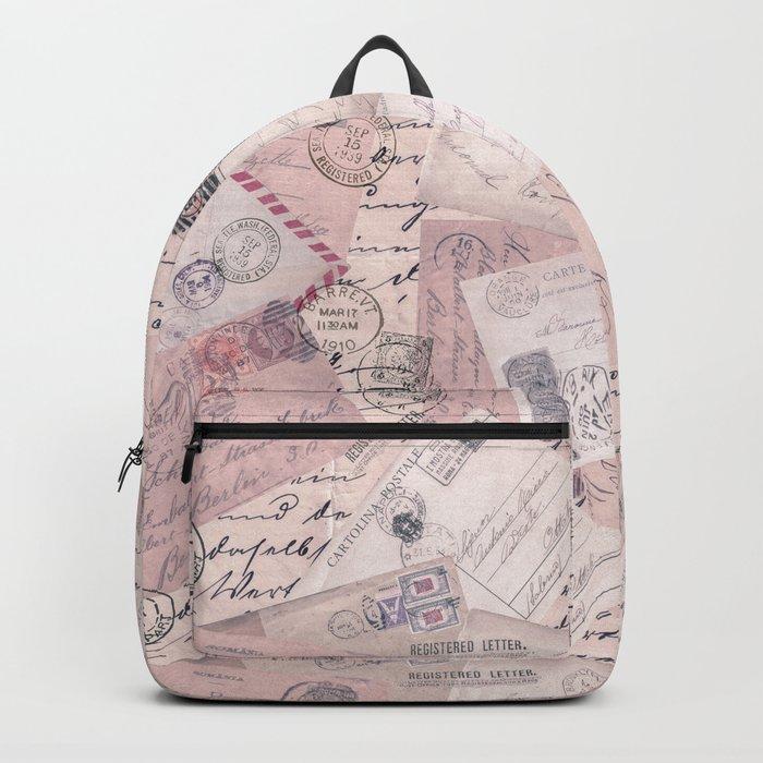 Nostalgic Letter and Postcard Collage Soft Pink Backpack