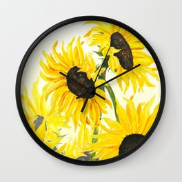 sunflower watercolor 2017 Wall Clock