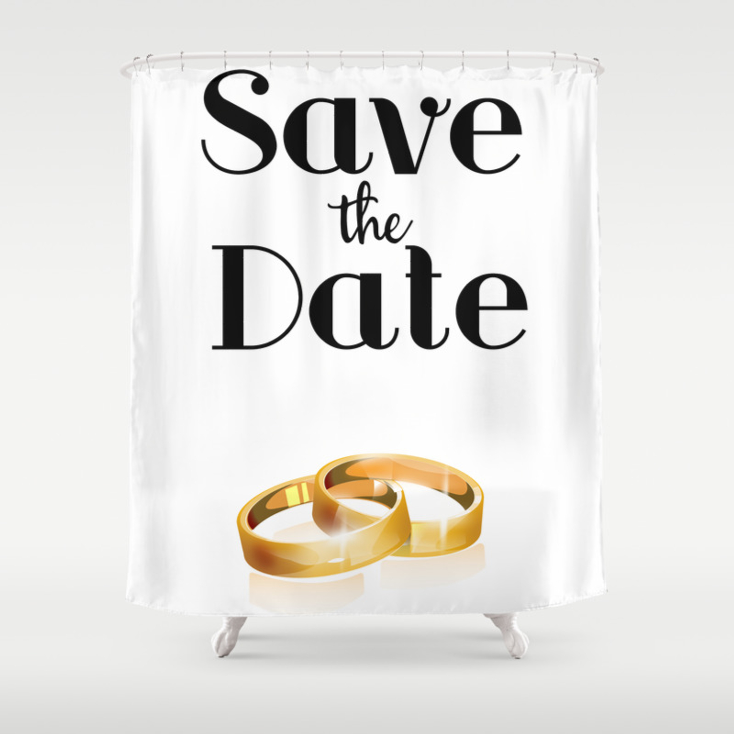Save The Date Gold Rings Shower Curtain