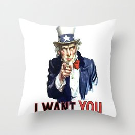 Uncle Sam I Want You Throw Pillow