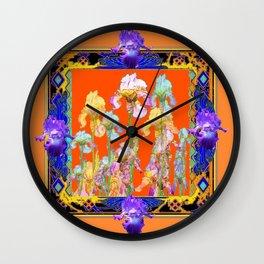 Ornate Cumin Color Purple Iris garden Design Wall Clock