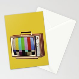 Retro old TV on test screen pattern Stationery Cards