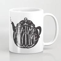 lettering Mugs featuring TEA TIME. ANY TIME. by Matthew Taylor Wilson